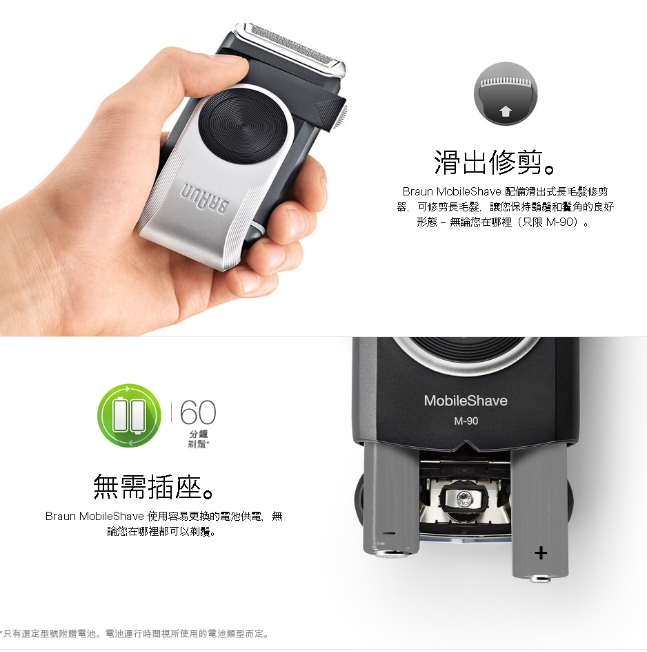 BRAUN M90 男仕水洗電池鬚刨  百靈電鬚刨 - Outlet Express HK生活百貨城